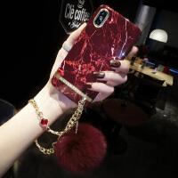 大理石苹果X手机壳女链条钻iPhone6splus全包防摔7p新款8毛球 iphone X 酒红色