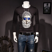 男士长袖T恤2017新款秋季男装体恤大码打底衫圆领半截袖韩版修身 黑色 M