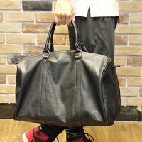 男士旅行包 大容量手提斜挎包 男包休闲韩版商务出差单肩包行李包 黑色