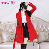 冬装新款女装 红色大翻领小个子修身毛呢外套大衣
