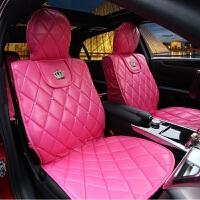 汽车用品座垫四季通用皇冠坐垫镶钻水钻女士玫红车载车用座垫