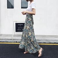 春夏一片式裙印花沙滩半身裙雪纺裙碎花系带开叉性感美丽长裙