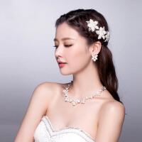 新娘头饰三件套装发饰项链耳环婚纱配饰结婚首饰品 项链、耳环(耳夹款)
