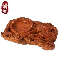 桃木木雕刻新中式复古烟灰缸盘龙创意客厅办公室实木质灭烟缸摆件 盘龙烟灰缸