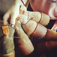 欧洲站新款粗跟短靴女鞋秋季厚底系带英伦风机车马丁靴真皮女靴子