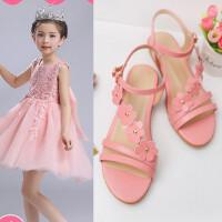 女童凉鞋新款韩版夏季时尚花朵真皮学生鞋平底防滑大童公主鞋