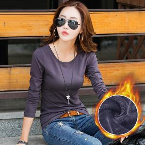 加绒加厚秋冬新款女装上衣体恤打底衫韩版修身显瘦白色长袖t恤女