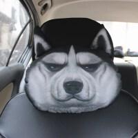 3D哈士奇汽��^枕二哈��d�i枕座椅枕�^枕卡通�用靠枕�蕊�品SN4648