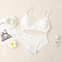棉无钢圈蕾丝文胸套装可调节运动睡眠内衣内裤女 均码