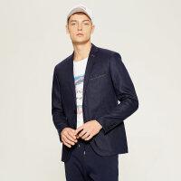 【2件2.5到手价:62.5】MECITY男装商务休闲修身亚麻深蓝色西装外套男