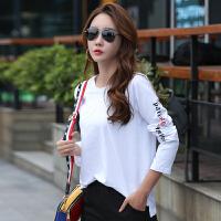 早秋新款长袖T恤女韩版宽松显瘦打底衫白色前短后长体恤上衣