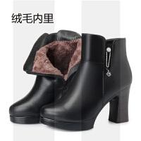 棉鞋女2018冬季新款高跟真皮短靴女粗跟羊毛女靴保暖加绒棉靴子SN5784