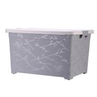 整理储物箱塑料衣服收纳箱特大号加厚三件套收纳盒有盖储蓄箱 北欧灰 印花款 超大号(120L+120L) 两个装优惠19