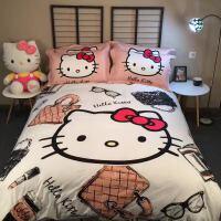 卡通哈喽kitty猫四件套纯棉儿童公主风被套床单1.8m床上用品 黑色 摩登KT