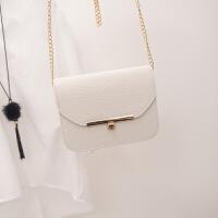 欧美时尚斜挎链条包迷你小方包单肩包斜跨女包小包包 米白色