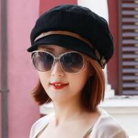 女士帽子时尚春秋天休闲贝雷帽 画家帽 女韩版潮时装帽报童帽 M(56-58cm)