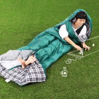陪时间旅行 羽绒棉伸手隔脏睡袋可拆洗户外秋冬野营室内午休 2.8kg墨绿 防潮垫+枕头