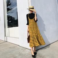 2018春装新款女裙子 韩版拼接百褶吊带裙夏中长款度假雪纺连衣裙 黄色