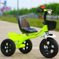 儿童三轮车推车音乐童车小孩脚踏车2-3-5-6幼儿园玩具车 绿色 后框发泡