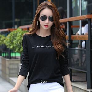 黑色T恤女秋季新款女士上衣打底衫宽松大码竹节棉外穿t恤衣服
