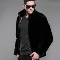 男士裘皮大衣仿皮草外套 时尚立领夹克保暖拉链 黑色 立领