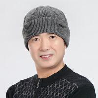 冬季柔软线男士帽子秋冬中老年男保暖老人爸爸毛线针织帽