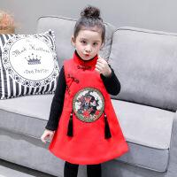女童连衣裙 冬装新款加厚毛呢子马甲裙 背心裙 旗袍裙子B2-T53