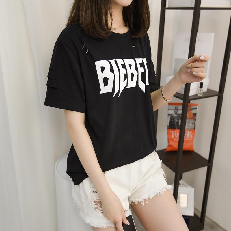 实拍夏季韩版新款个性破洞百搭打底衫学生宽松短袖女T恤