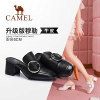 Camel/骆驼女鞋 2018春季新款 复古方头粗跟鞋时尚圆扣真皮高跟拖鞋女