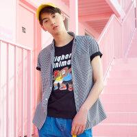 【1件3折到手价:25.77】美特斯邦威短袖衬衫男装夏季新款韩版清新细格子短袖衬衫潮