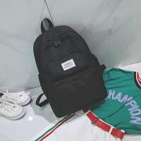 帆布双肩包学生书包大容量纯色多口袋背包电脑包韩版潮男女