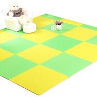 儿童宝宝爬爬行垫拼接 铺地板泡沫地垫子拼图榻榻米大号60x60 绿色+黄色 一级品