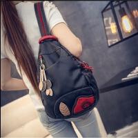 韩版潮流水洗皮双肩包斜挎包女包时尚休闲背包旅行包百搭包包 单包