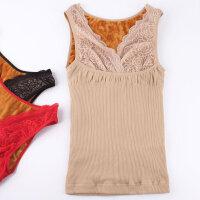 新款秋冬季加绒保暖背心加厚上衣无袖打底衫蕾丝托胸修身美体内衣