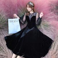 2019新款春季新款修身显瘦蕾丝网纱长裙法式复古气质打底连衣裙女 黑色拍下赠抹胸