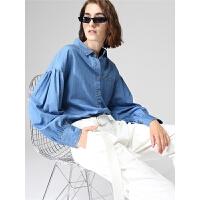 【秋冬秒杀价:79元】初语牛仔衬衫女秋季新款休闲宽松复古灯笼袖蓝色长袖衬衣
