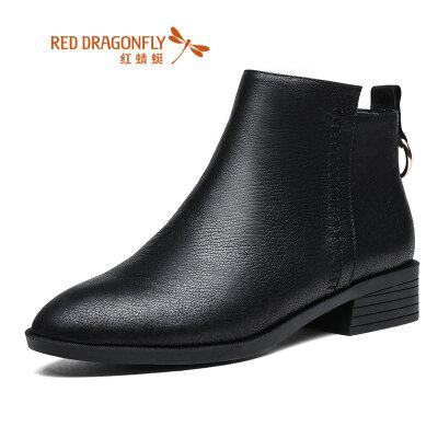 【红蜻蜓领劵立减150】红蜻蜓女鞋2019冬季新款真皮短筒靴中跟粗跟女靴加绒短靴