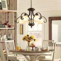 美式吊灯铁艺乡村复古三头餐厅灯欧式卧室灯简约现代灯具客厅吊灯4gq