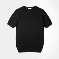 男士圆领薄款羊毛衫毛衣短袖针织衫修身打底衫半袖T��线衣紧身T恤 黑色