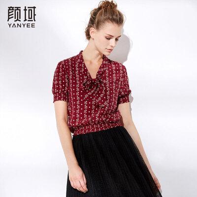 颜域2018夏装新款气质优雅蝴蝶结短袖修身显瘦印花衬衫小衫上衣女