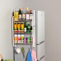 厨房用品大容量冰箱侧挂架 收纳置物架调味料保鲜膜挂架冰箱架 承重储物冰箱铁架