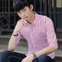 夏季韩版男士衬衫中袖时尚条纹印花衬衣修身2018新款5分袖寸衫潮
