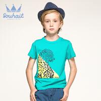 【尾品特惠】1水孩儿童装男童夏季纯棉男大童经典圆领衫AOAXK705