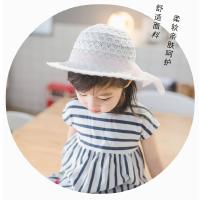 儿童帽女遮阳帽出游帽子宝宝渔夫帽盆帽镂空太阳帽防风沙滩帽婴儿4735 镂空蕾丝帽 S 52CM约3~4岁