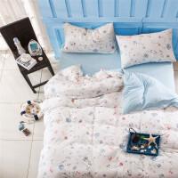 多喜爱纯棉针织四件套田园花卉床品套件地中海风情