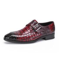 亮面布洛克鳄鱼纹真皮男士商务正装皮鞋 套脚侧扣英伦绅士男鞋软底