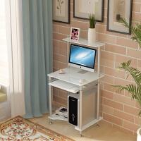 可移动小户型迷你纯白色电脑台式桌家用可放打印机办公双层书桌