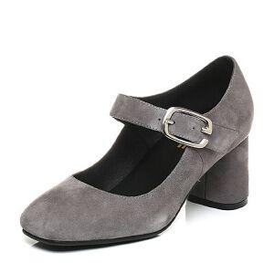 Belle/百丽2017秋复古玛丽珍羊皮绒面粗跟浅口女单鞋17030CQ7
