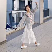 201808212208520972018新款显瘦层层百褶雪纺裙大摆沙滩长裙韩版白色半身裙纯色 均码