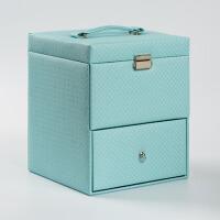 创意化妆盒首饰收纳盒手提公主带镜子带锁整理盒化妆箱送女友爱人生日礼物 浅绿色棱角纹